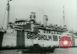 Image of Ship Gripsholm delivers Americans freed from internment by Germany New York City USA, 1944, second 12 stock footage video 65675021166