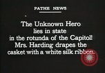 Image of World War I American Unknown soldier lying in state Washington DC USA, 1921, second 9 stock footage video 65675021988