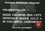 Image of Independence Day ceremony Philadelphia Pennsylvania USA, 1934, second 3 stock footage video 65675022431