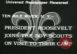 Image of President Roosevelt with Boy Scouts Ten Mile River New York USA, 1933, second 7 stock footage video 65675022453