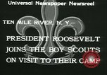 Image of President Roosevelt with Boy Scouts Ten Mile River New York USA, 1933, second 10 stock footage video 65675022453