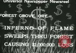 Image of Forest fire Forest Grove Oregon USA, 1933, second 4 stock footage video 65675022456