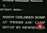 Image of Fresh Air Camp summer camp for poor children Detroit Michigan USA, 1933, second 2 stock footage video 65675022459