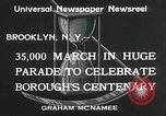 Image of Brooklyn Centenary celebration Brooklyn New York City USA, 1934, second 2 stock footage video 65675023139