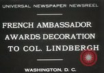 Image of award to Colonel Lindbergh Washington DC USA, 1931, second 1 stock footage video 65675023618