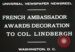 Image of award to Colonel Lindbergh Washington DC USA, 1931, second 7 stock footage video 65675023618
