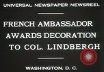 Image of award to Colonel Lindbergh Washington DC USA, 1931, second 8 stock footage video 65675023618