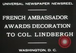 Image of award to Colonel Lindbergh Washington DC USA, 1931, second 10 stock footage video 65675023618