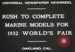 Image of Otto Gradenigo makes Marine models Oakland California USA, 1931, second 2 stock footage video 65675023624