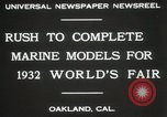 Image of Otto Gradenigo makes Marine models Oakland California USA, 1931, second 3 stock footage video 65675023624