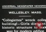 Image of Students destroy college building Wellesley Massachusetts USA, 1931, second 2 stock footage video 65675023632