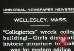 Image of Students destroy college building Wellesley Massachusetts USA, 1931, second 7 stock footage video 65675023632