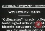Image of Students destroy college building Wellesley Massachusetts USA, 1931, second 9 stock footage video 65675023632