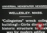 Image of Students destroy college building Wellesley Massachusetts USA, 1931, second 11 stock footage video 65675023632