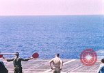 Image of US Marine Corps UH 34D helicopter lands on deck Cape Canaveral Florida USA, 1962, second 1 stock footage video 65675024593