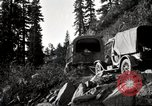 Image of U.S. Army motor transport convoy crossing mountains California United States USA, 1919, second 2 stock footage video 65675025559