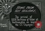 Image of RMS Olympic arriving at port, carrying Prince of Wales. Southampton England, 1924, second 3 stock footage video 65675026042