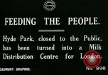 Image of Hyde park serves as wartime milk distribution center London England United Kingdom, 1915, second 2 stock footage video 65675026084