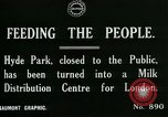 Image of Hyde park serves as wartime milk distribution center London England United Kingdom, 1915, second 3 stock footage video 65675026084