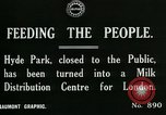 Image of Hyde park serves as wartime milk distribution center London England United Kingdom, 1915, second 5 stock footage video 65675026084