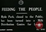 Image of Hyde park serves as wartime milk distribution center London England United Kingdom, 1915, second 8 stock footage video 65675026084