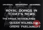 Image of Queen Wilhelmina The Hague Netherlands, 1932, second 3 stock footage video 65675026486