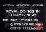 Image of Queen Wilhelmina The Hague Netherlands, 1932, second 4 stock footage video 65675026486