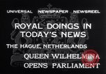 Image of Queen Wilhelmina The Hague Netherlands, 1932, second 8 stock footage video 65675026486