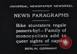 Image of Unicyclists Berlin Germany, 1930, second 1 stock footage video 65675026884