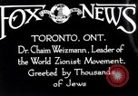 Image of Doctor Chaim Weizmann Toronto Ontario Canada, 1938, second 6 stock footage video 65675027152