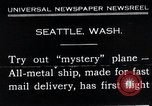 Image of mail delivery plane Seattle Washington USA, 1935, second 1 stock footage video 65675027485