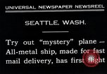 Image of mail delivery plane Seattle Washington USA, 1935, second 3 stock footage video 65675027485