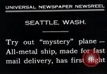 Image of mail delivery plane Seattle Washington USA, 1935, second 4 stock footage video 65675027485