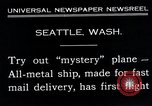 Image of mail delivery plane Seattle Washington USA, 1935, second 5 stock footage video 65675027485