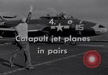 Image of Catapulting jet aircraft from aircraft carrier United States USA, 1951, second 4 stock footage video 65675028031