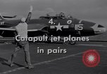 Image of Catapulting jet aircraft from aircraft carrier United States USA, 1951, second 5 stock footage video 65675028031