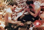 Image of Marine renders first aid to wounded buddy Saipan Northern Mariana Islands, 1944, second 7 stock footage video 65675028048