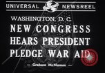 Image of President Franklin Roosevelt at 77th Congress Washington DC USA, 1941, second 5 stock footage video 65675028757
