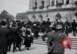 Image of large crowd Versailles France, 1919, second 10 stock footage video 65675029030