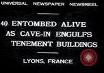 Image of collapsed building Lyon France, 1932, second 2 stock footage video 65675029422