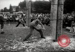 Image of tree-chopping and sawing contests Bavaria Germany, 1967, second 7 stock footage video 65675029474