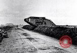 Image of British Mark IV tanks in operation in World War 1 Langres France, 1918, second 10 stock footage video 65675029628