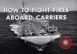 Image of aircraft carrier fire fighting United States USA, 1960, second 6 stock footage video 65675029807
