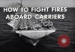 Image of aircraft carrier fire fighting United States USA, 1960, second 9 stock footage video 65675029807