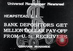 Image of bank depositors Hempstead New York USA, 1934, second 2 stock footage video 65675029865