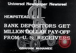 Image of bank depositors Hempstead New York USA, 1934, second 3 stock footage video 65675029865