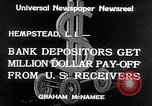 Image of bank depositors Hempstead New York USA, 1934, second 8 stock footage video 65675029865