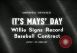 Image of Willie Mays record-setting baseball contract San Francisco California USA, 1966, second 1 stock footage video 65675029934