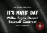 Image of Willie Mays record-setting baseball contract San Francisco California USA, 1966, second 3 stock footage video 65675029934