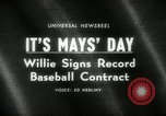 Image of Willie Mays record-setting baseball contract San Francisco California USA, 1966, second 4 stock footage video 65675029934